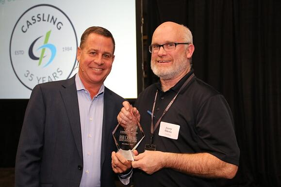 Mike Cassling presenting Jerry Glenn with Bob Cassling Service Excellence Award