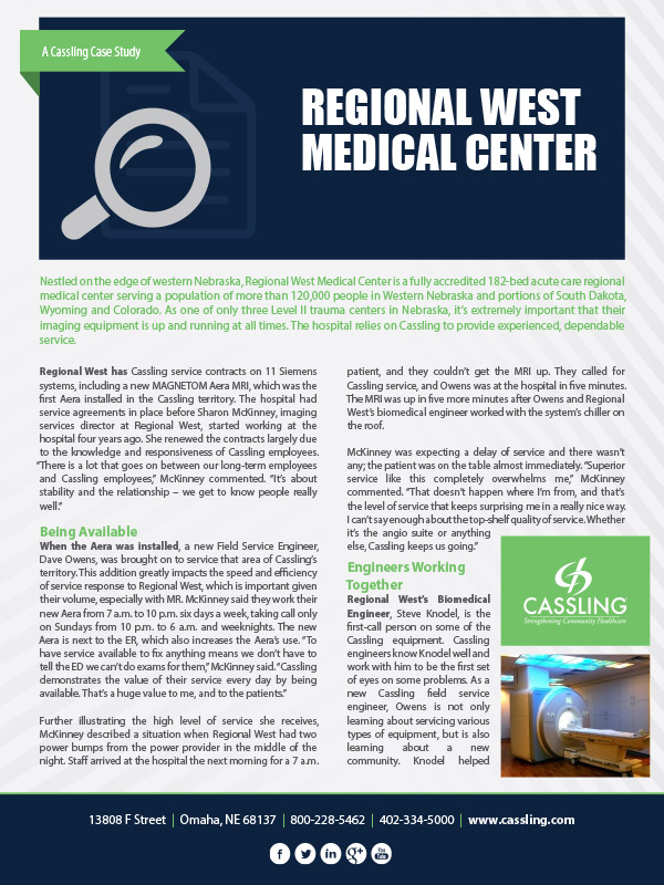 Regional West Medical Center Cuts Back Downtime with Cassling Service