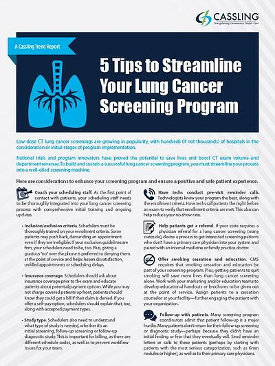 Five Tips to Streamline Your Lung Cancer Screening Program